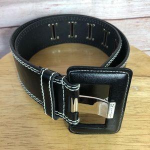 Calvin Klein Stylish Black White Leather Belt SzM